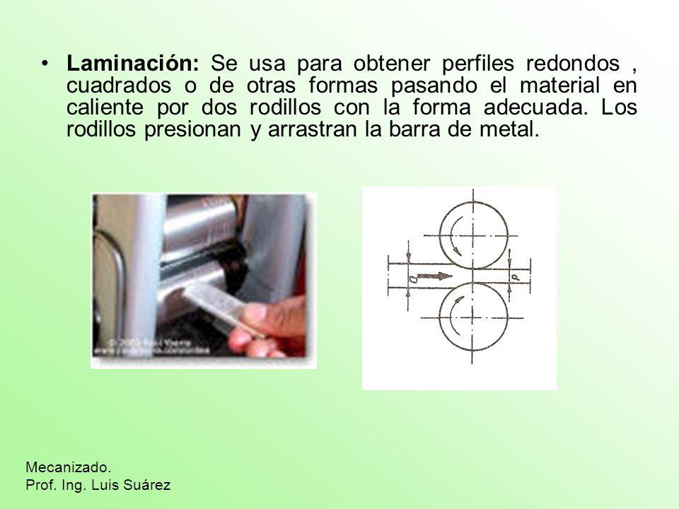 Laminación: Se usa para obtener perfiles redondos , cuadrados o de otras formas pasando el material en caliente por dos rodillos con la forma adecuada. Los rodillos presionan y arrastran la barra de metal.