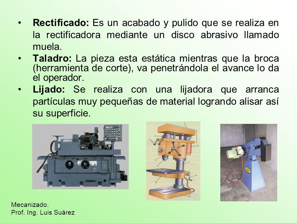 Rectificado: Es un acabado y pulido que se realiza en la rectificadora mediante un disco abrasivo llamado muela.