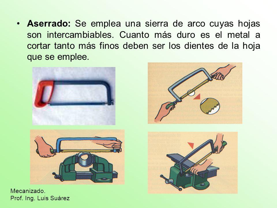 Aserrado: Se emplea una sierra de arco cuyas hojas son intercambiables