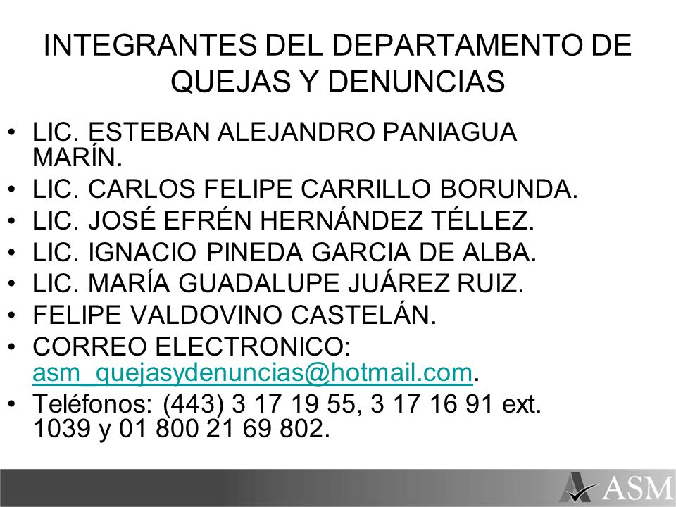 INTEGRANTES DEL DEPARTAMENTO DE QUEJAS Y DENUNCIAS