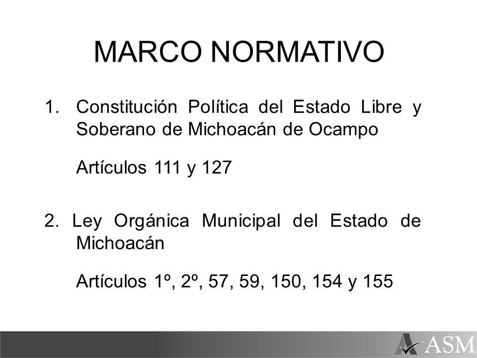 MARCO NORMATIVO 1. Constitución Política del Estado Libre y Soberano de Michoacán de Ocampo. Artículos 111 y 127.