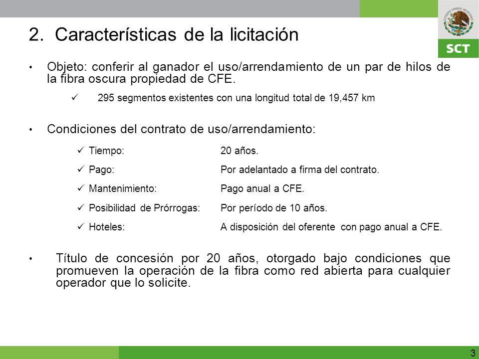 2. Características de la licitación