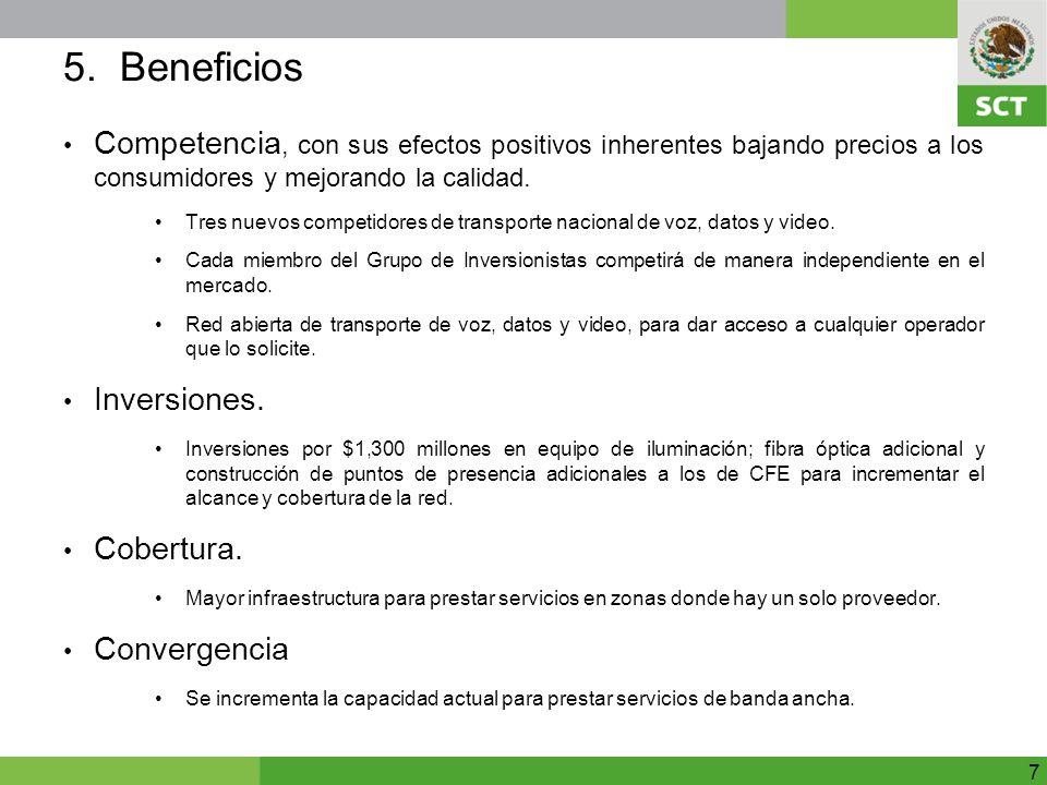 5. Beneficios Competencia, con sus efectos positivos inherentes bajando precios a los consumidores y mejorando la calidad.