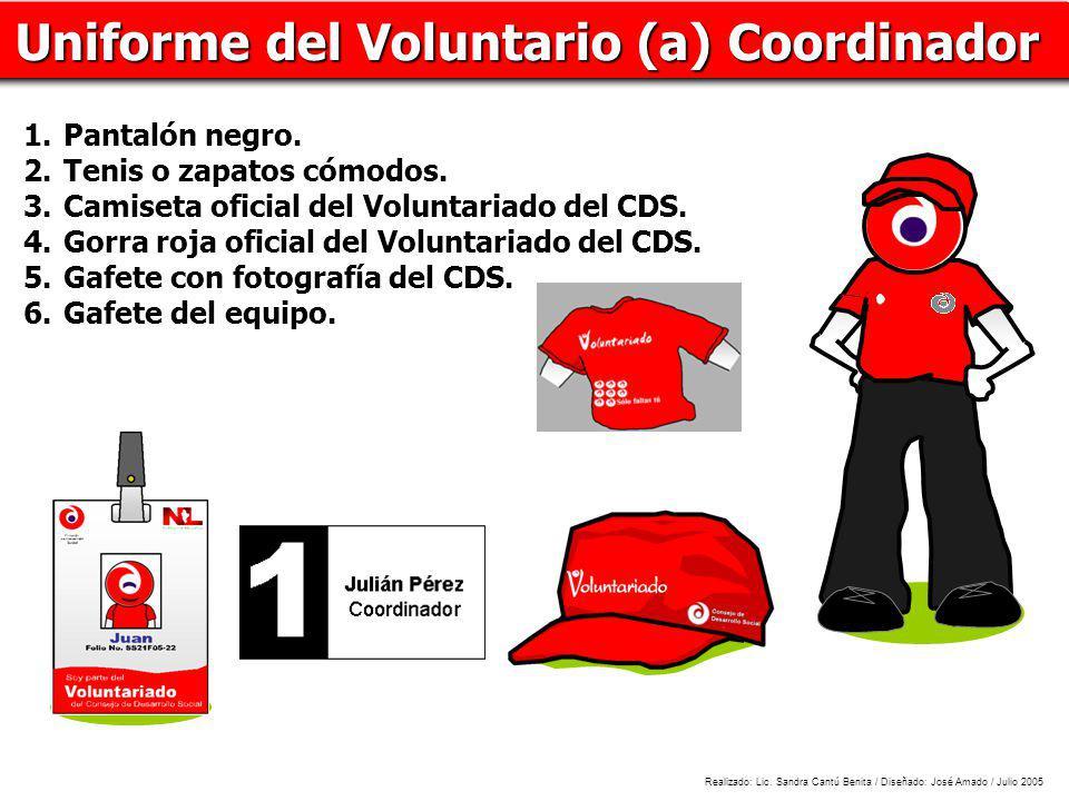 N L Uniforme del Voluntario (a) Coordinador Pantalón negro.