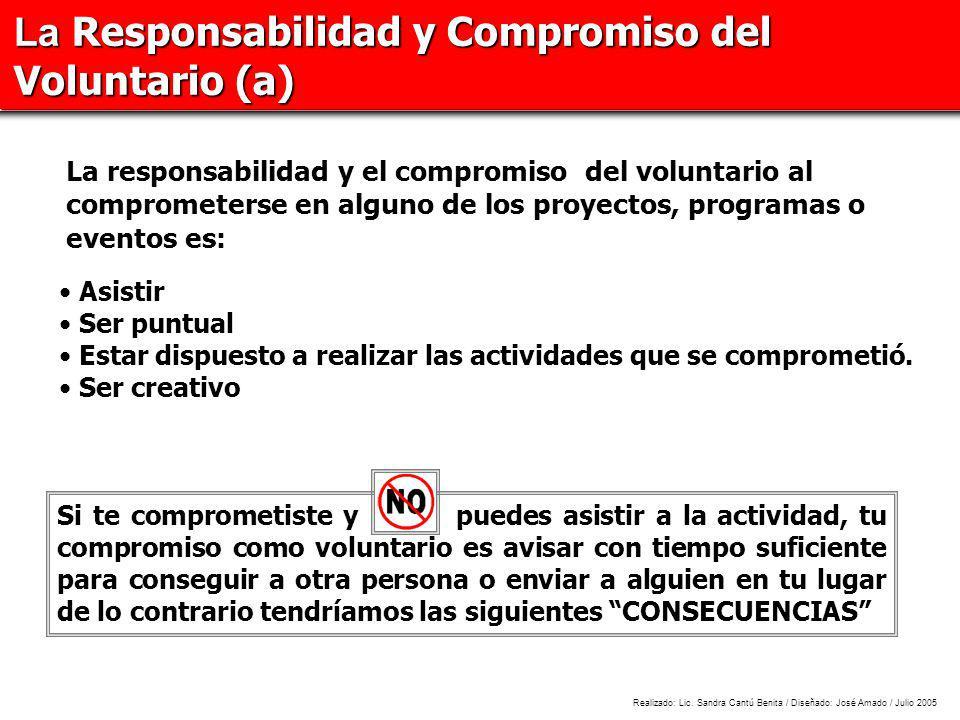 La Responsabilidad y Compromiso del Voluntario (a)
