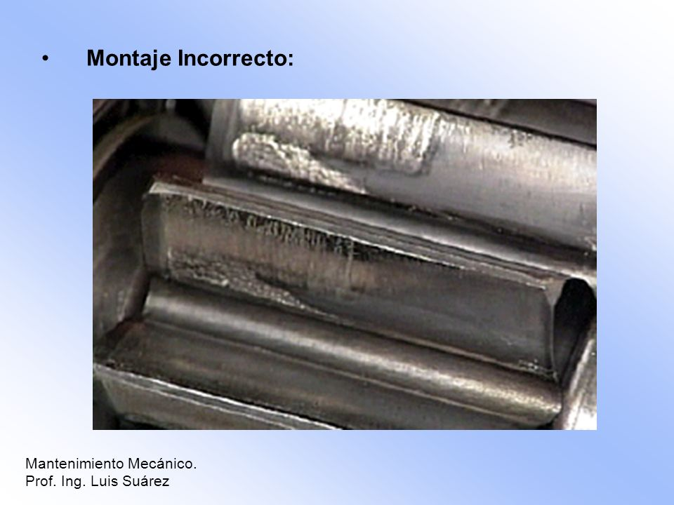 Montaje Incorrecto: Mantenimiento Mecánico. Prof. Ing. Luis Suárez