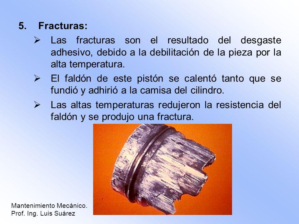 Fracturas: Las fracturas son el resultado del desgaste adhesivo, debido a la debilitación de la pieza por la alta temperatura.