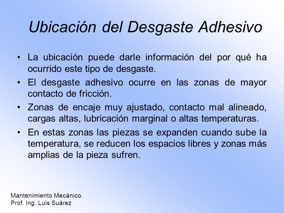 Ubicación del Desgaste Adhesivo