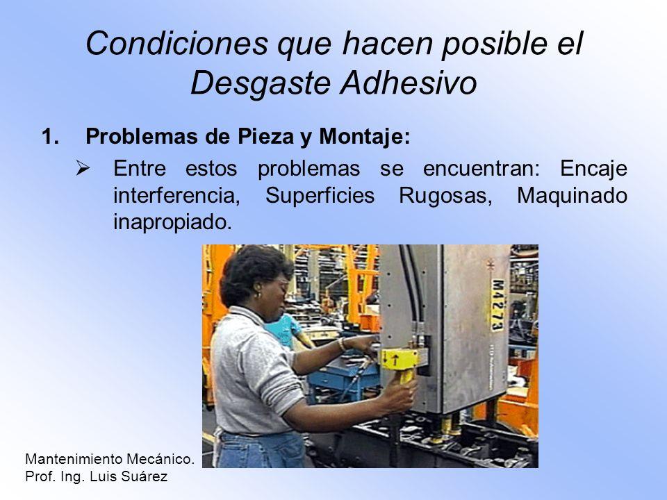 Condiciones que hacen posible el Desgaste Adhesivo