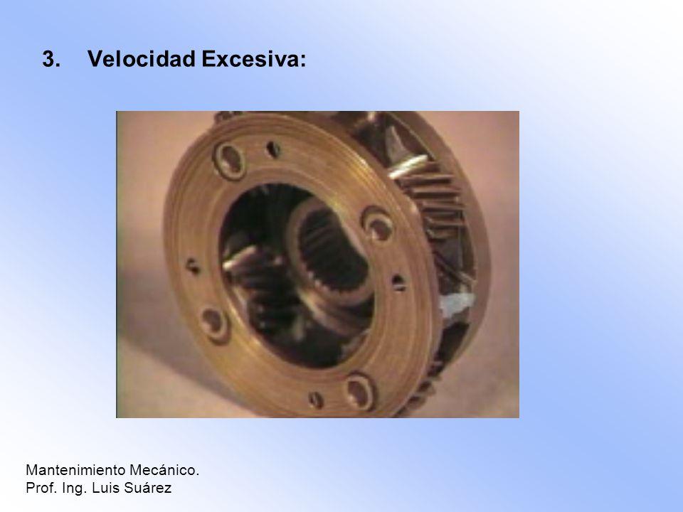 Velocidad Excesiva: Mantenimiento Mecánico. Prof. Ing. Luis Suárez