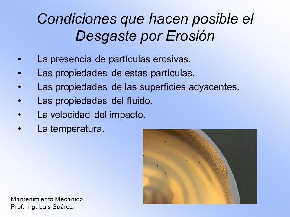 Condiciones que hacen posible el Desgaste por Erosión
