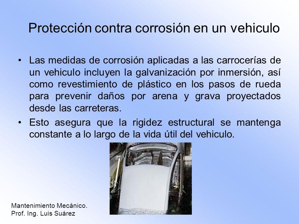 Protección contra corrosión en un vehiculo