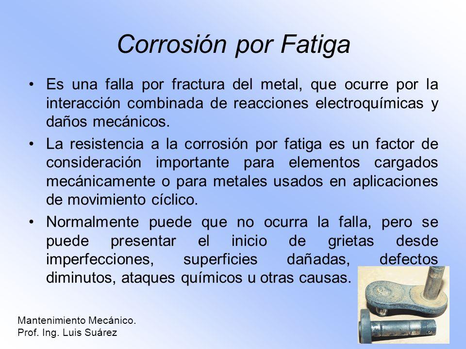 Corrosión por Fatiga Es una falla por fractura del metal, que ocurre por la interacción combinada de reacciones electroquímicas y daños mecánicos.