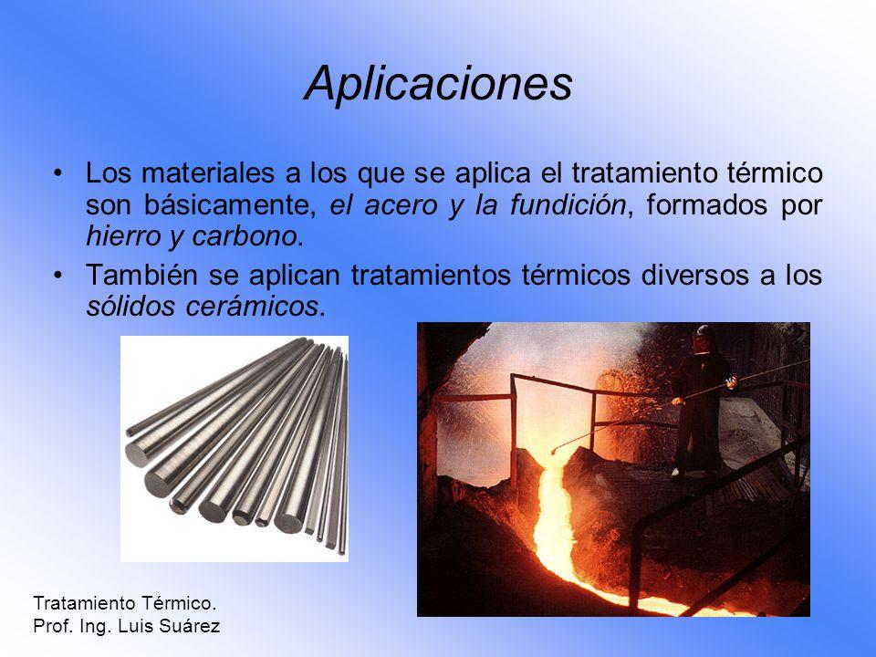 Aplicaciones Los materiales a los que se aplica el tratamiento térmico son básicamente, el acero y la fundición, formados por hierro y carbono.