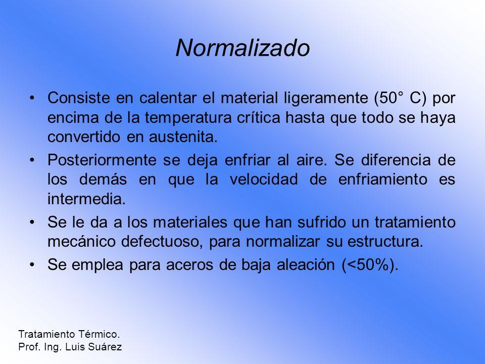 Normalizado Consiste en calentar el material ligeramente (50° C) por encima de la temperatura crítica hasta que todo se haya convertido en austenita.