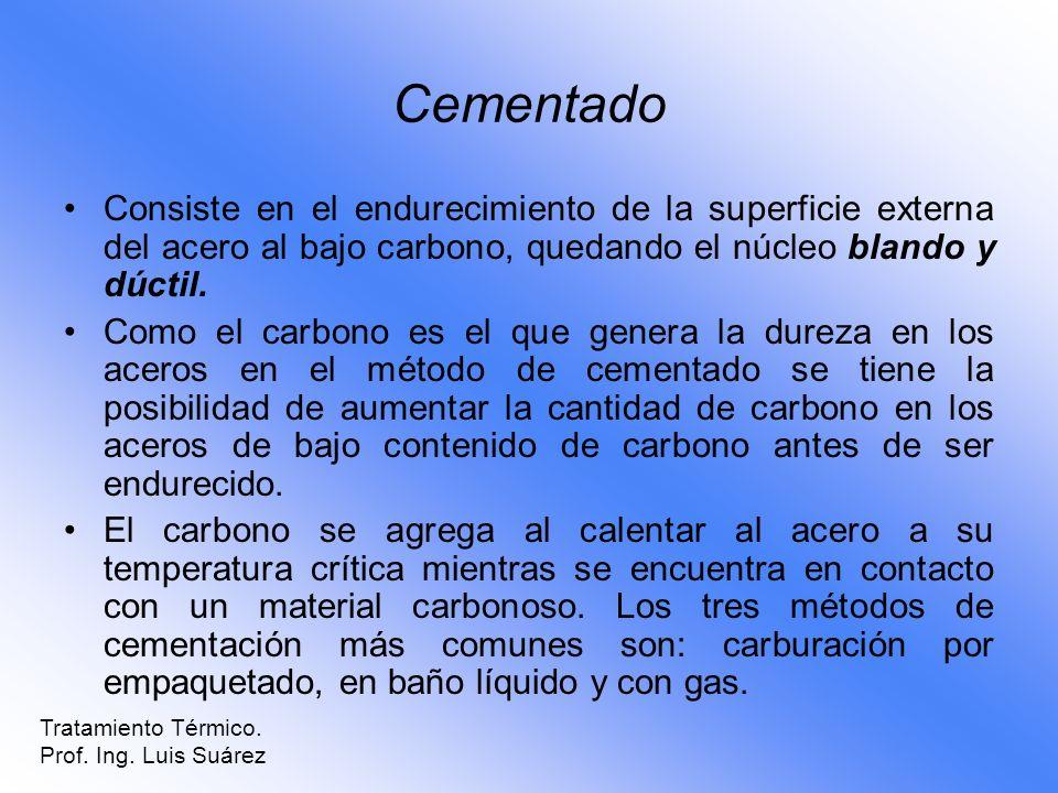 Cementado Consiste en el endurecimiento de la superficie externa del acero al bajo carbono, quedando el núcleo blando y dúctil.