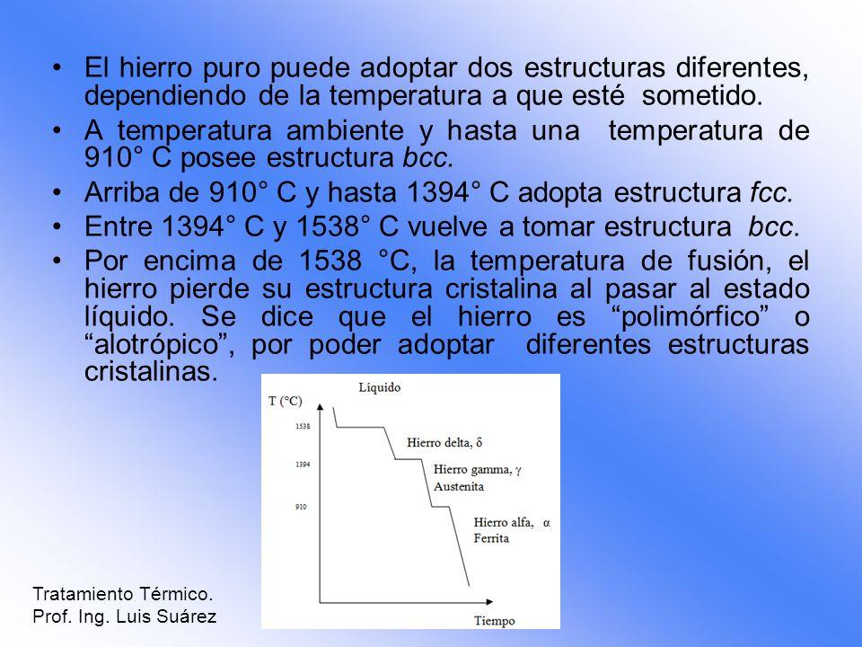 Arriba de 910° C y hasta 1394° C adopta estructura fcc.