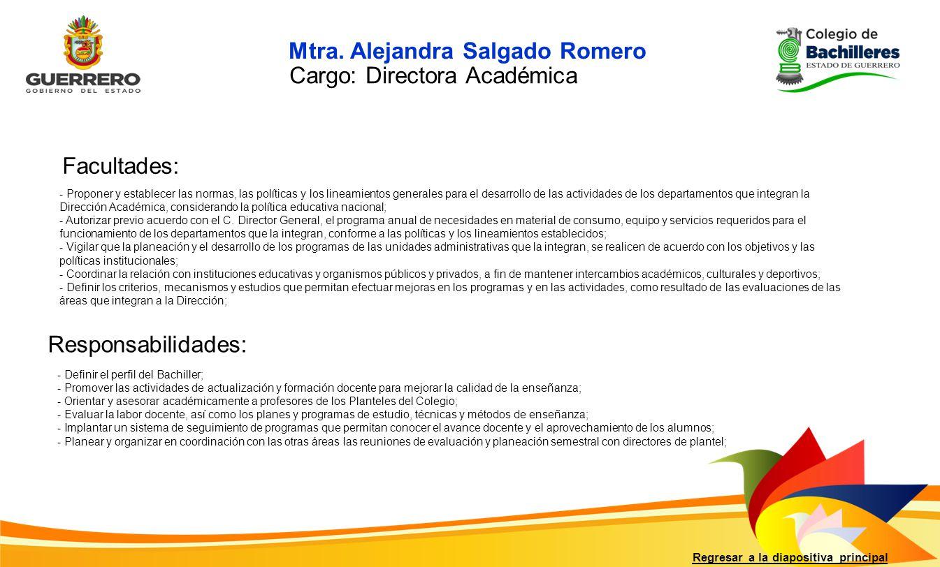 Mtra. Alejandra Salgado Romero Cargo: Directora Académica