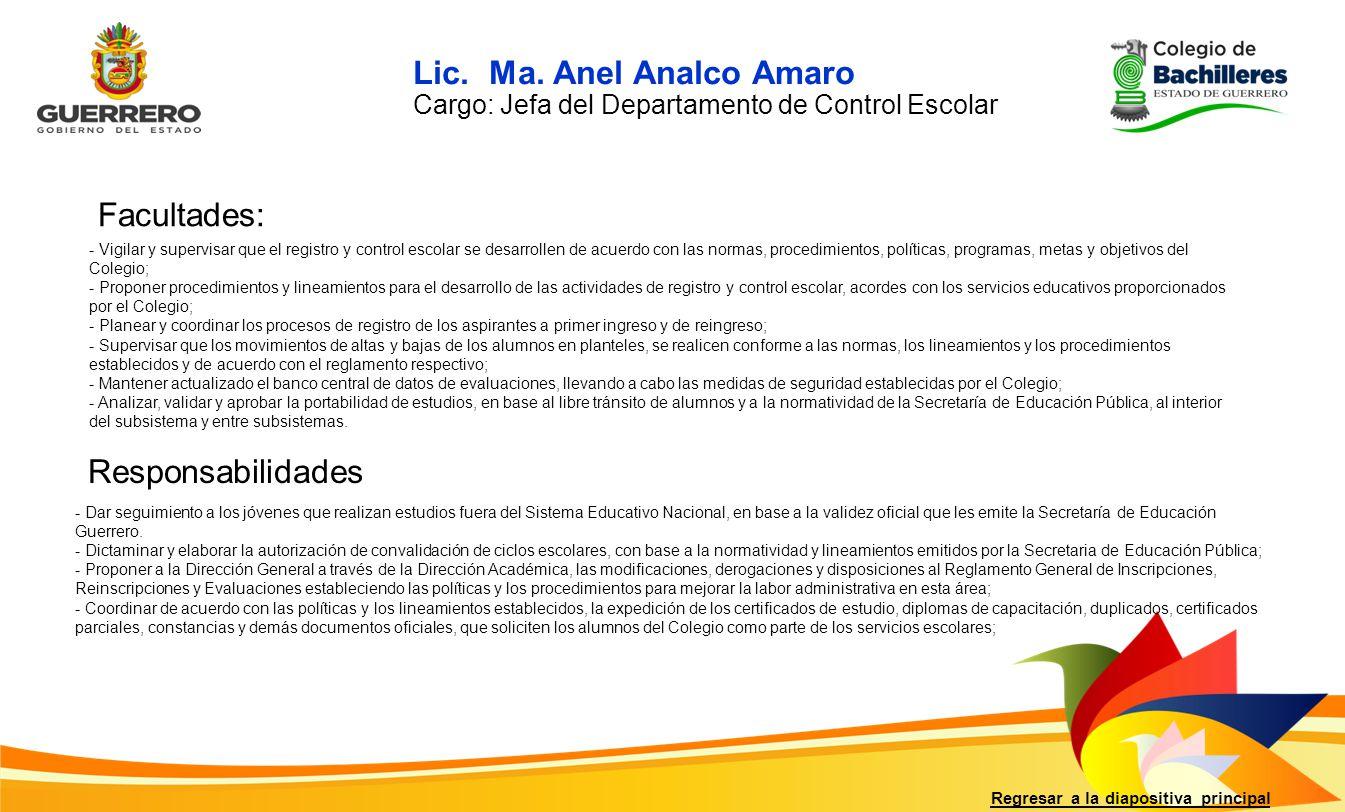 Lic. Ma. Anel Analco Amaro