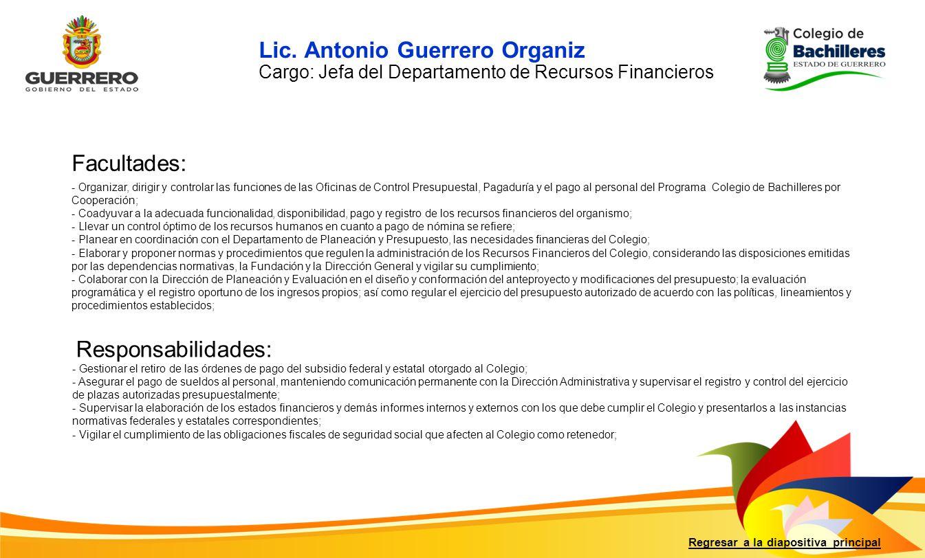 Lic. Antonio Guerrero Organiz