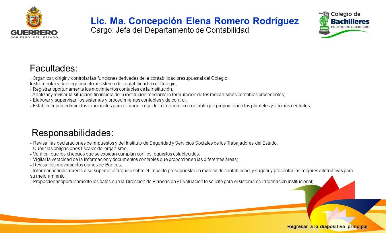 Lic. Ma. Concepción Elena Romero Rodríguez