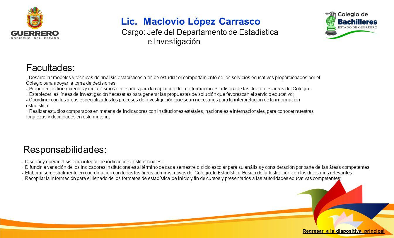 Lic. Maclovio López Carrasco
