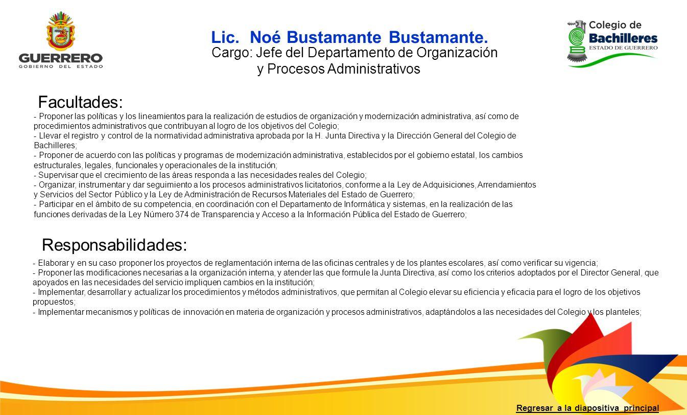 Lic. Noé Bustamante Bustamante.