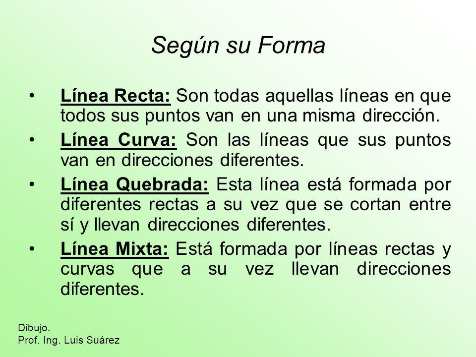 Según su Forma Línea Recta: Son todas aquellas líneas en que todos sus puntos van en una misma dirección.