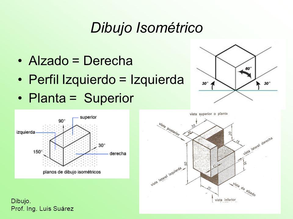 Dibujo Isométrico Alzado = Derecha Perfil Izquierdo = Izquierda