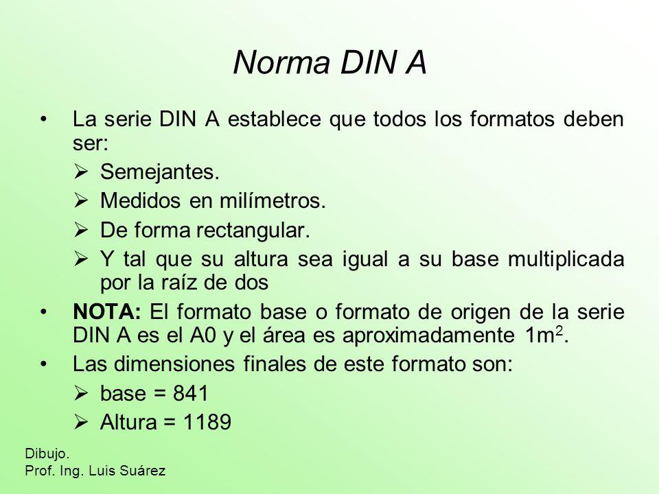 Norma DIN A La serie DIN A establece que todos los formatos deben ser: