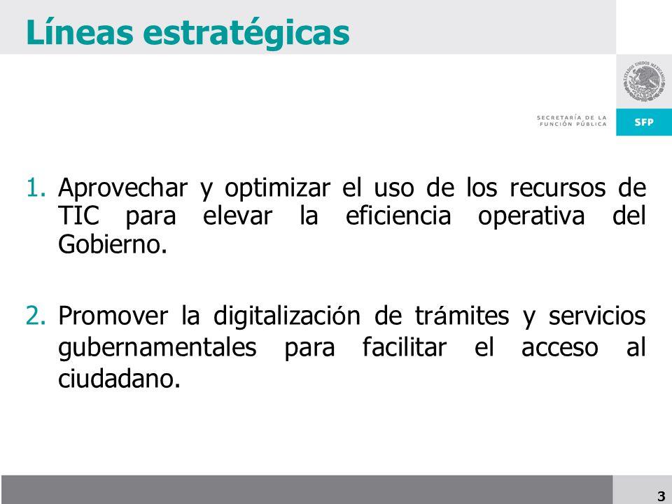 Líneas estratégicas Aprovechar y optimizar el uso de los recursos de TIC para elevar la eficiencia operativa del Gobierno.