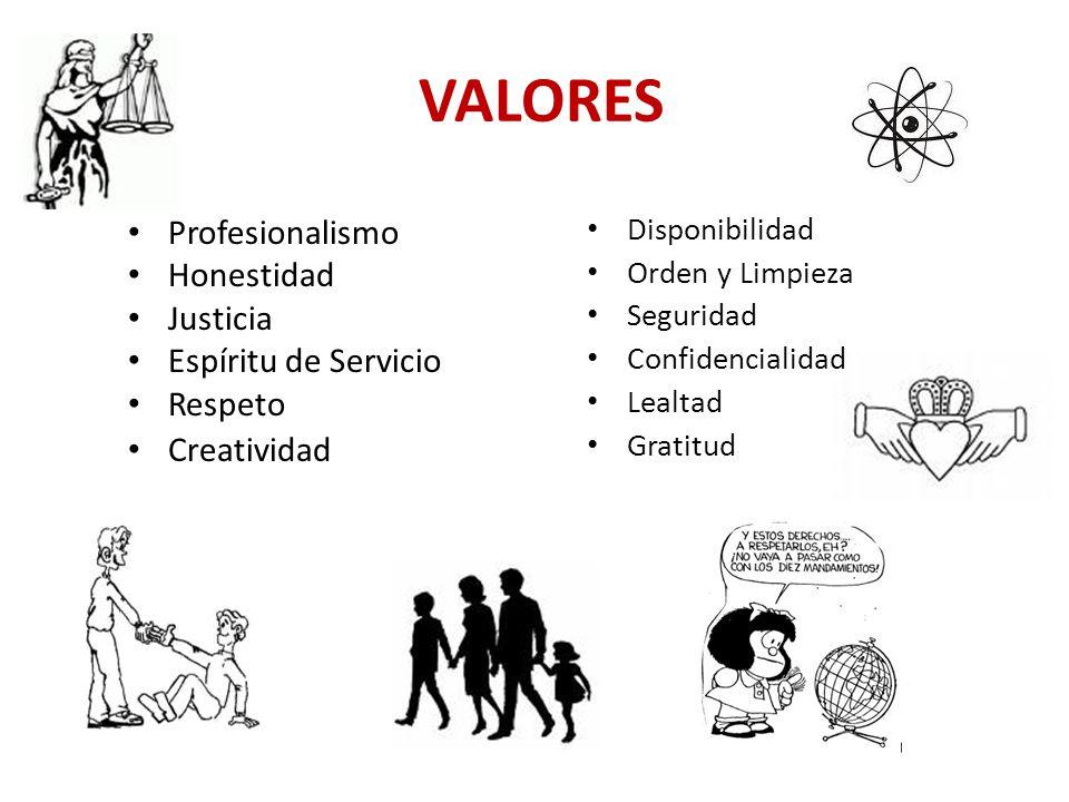 VALORES Profesionalismo Honestidad Justicia Espíritu de Servicio