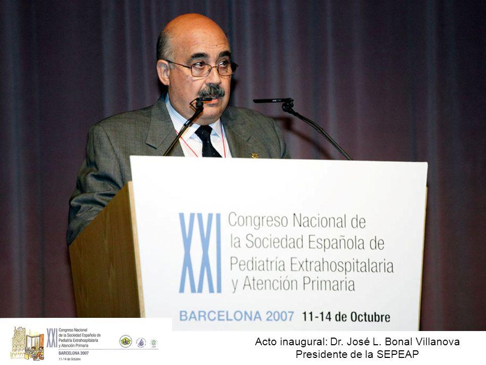 Acto inaugural: Dr. José L. Bonal Villanova Presidente de la SEPEAP