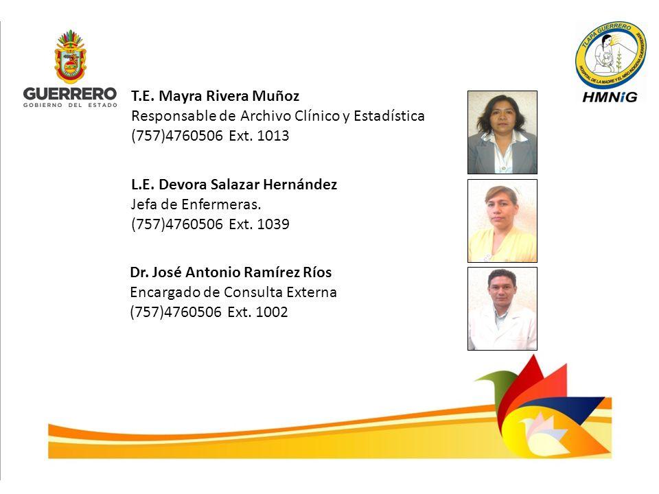 T.E. Mayra Rivera Muñoz Responsable de Archivo Clínico y Estadística. (757)4760506 Ext. 1013. L.E. Devora Salazar Hernández.