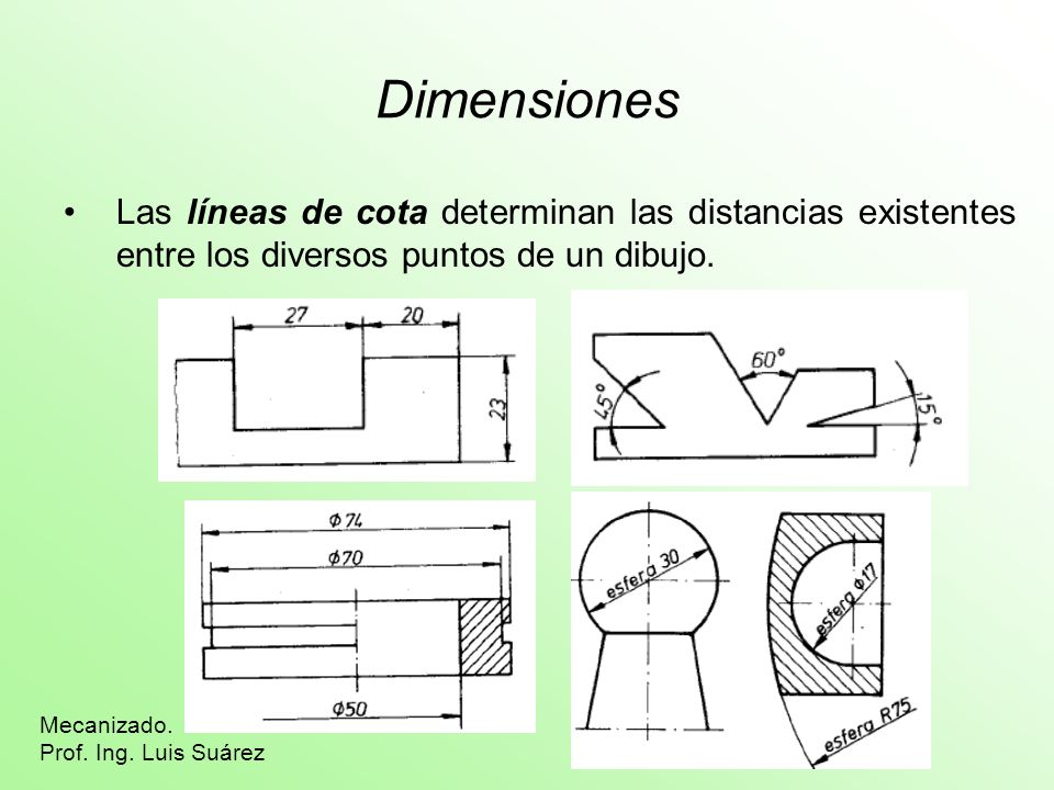 Dimensiones Las líneas de cota determinan las distancias existentes entre los diversos puntos de un dibujo.