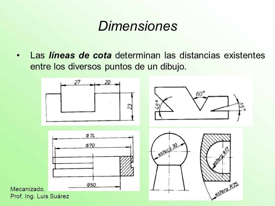 DimensionesLas líneas de cota determinan las distancias existentes entre los diversos puntos de un dibujo.