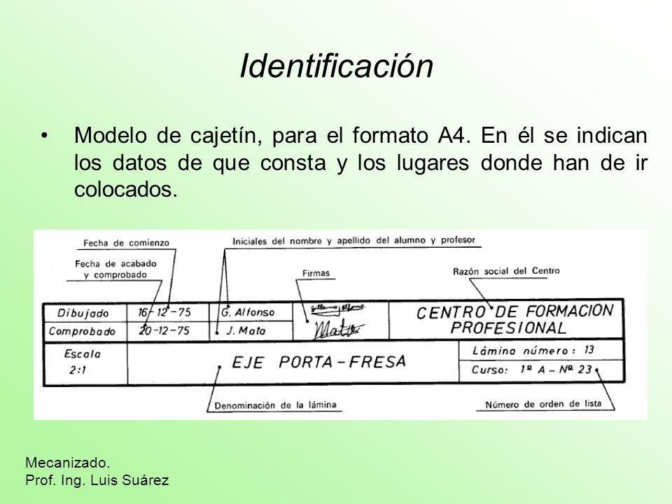 Identificación Modelo de cajetín, para el formato A4. En él se indican los datos de que consta y los lugares donde han de ir colocados.