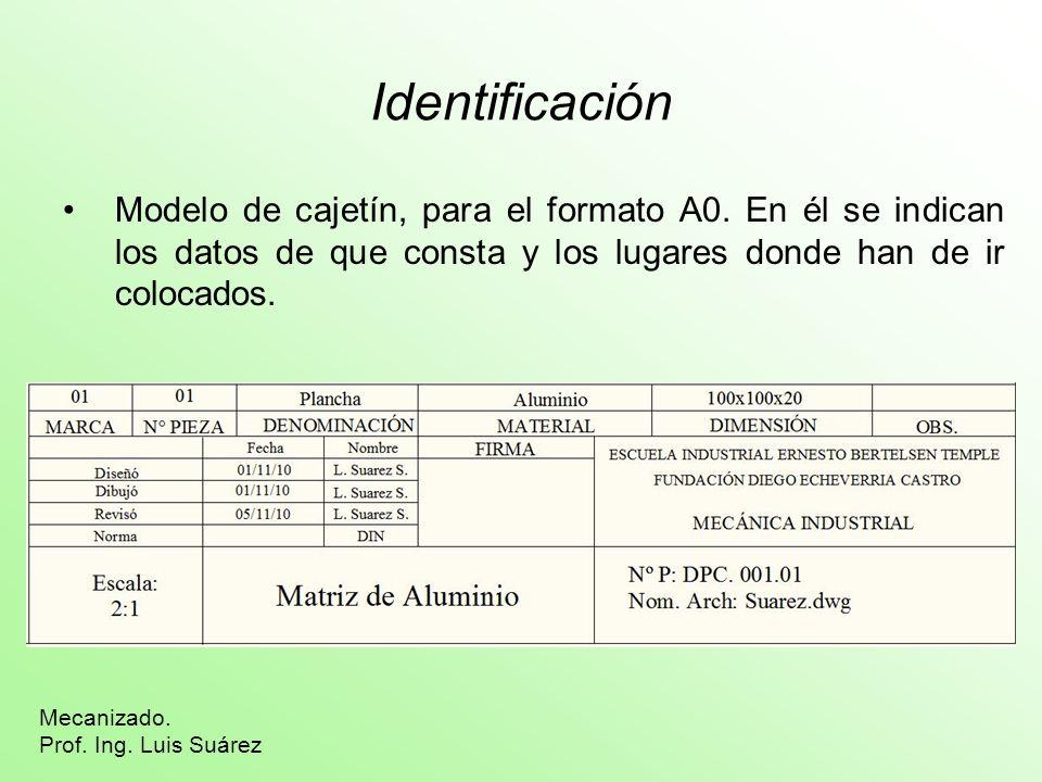 IdentificaciónModelo de cajetín, para el formato A0. En él se indican los datos de que consta y los lugares donde han de ir colocados.