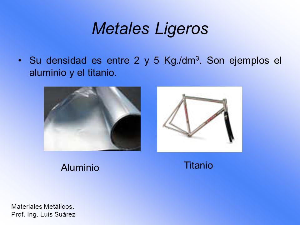 Metales Ligeros Su densidad es entre 2 y 5 Kg./dm3. Son ejemplos el aluminio y el titanio. Titanio.