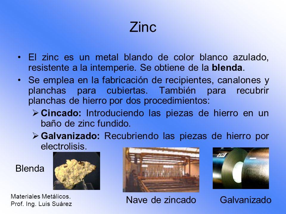 Zinc El zinc es un metal blando de color blanco azulado, resistente a la intemperie. Se obtiene de la blenda.