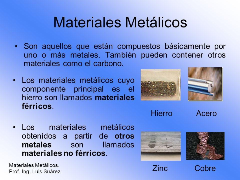 Materiales Metálicos Son aquellos que están compuestos básicamente por uno o más metales. También pueden contener otros materiales como el carbono.