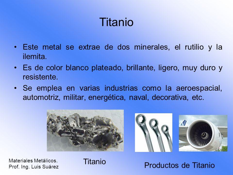 Titanio Este metal se extrae de dos minerales, el rutilio y la ilemita. Es de color blanco plateado, brillante, ligero, muy duro y resistente.
