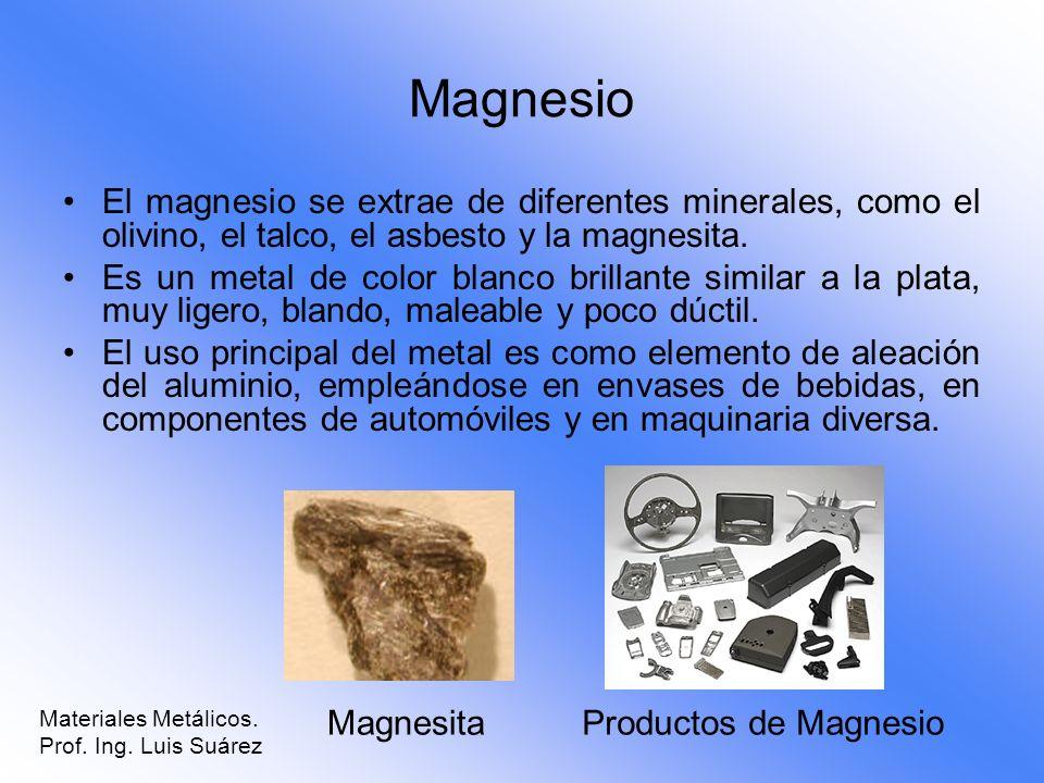 Magnesio El magnesio se extrae de diferentes minerales, como el olivino, el talco, el asbesto y la magnesita.
