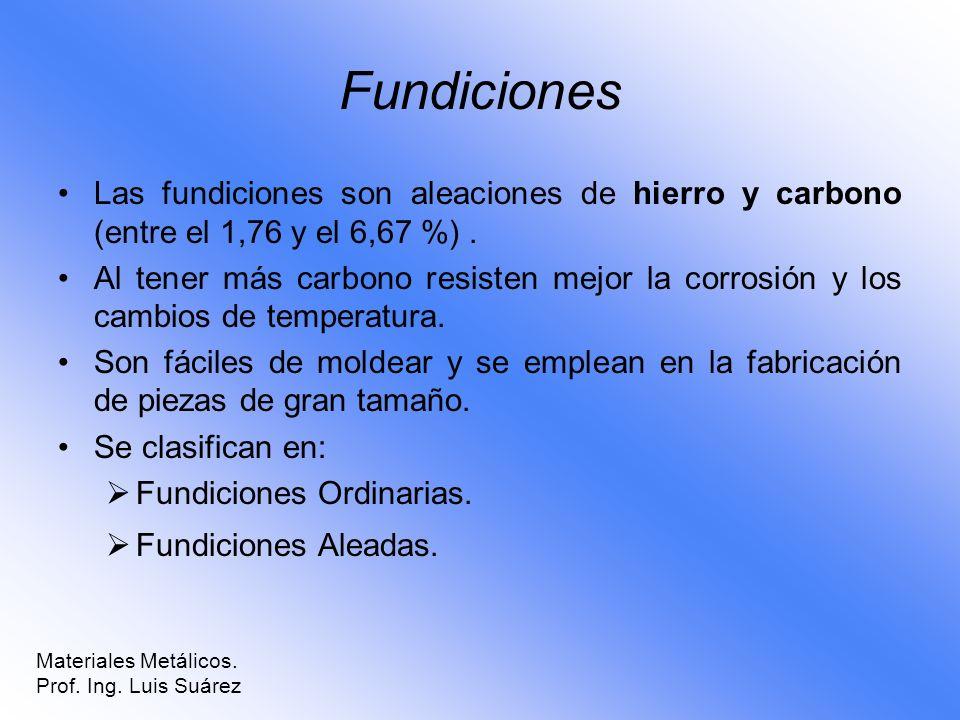 Fundiciones Las fundiciones son aleaciones de hierro y carbono (entre el 1,76 y el 6,67 %) .