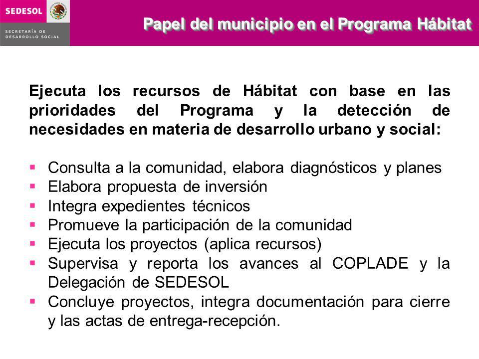 Papel del municipio en el Programa Hábitat