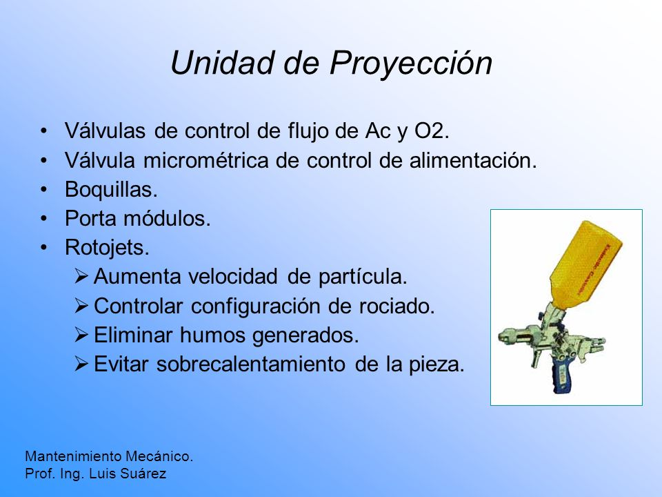 Unidad de Proyección Válvulas de control de flujo de Ac y O2.