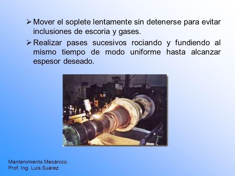 Mover el soplete lentamente sin detenerse para evitar inclusiones de escoria y gases.
