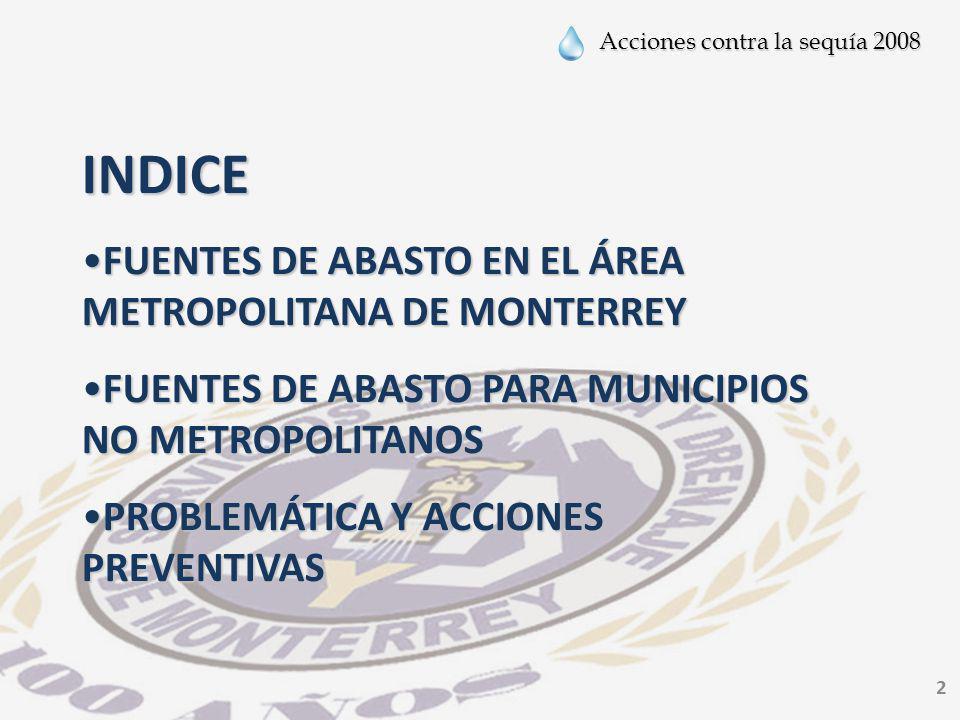 INDICE FUENTES DE ABASTO EN EL ÁREA METROPOLITANA DE MONTERREY
