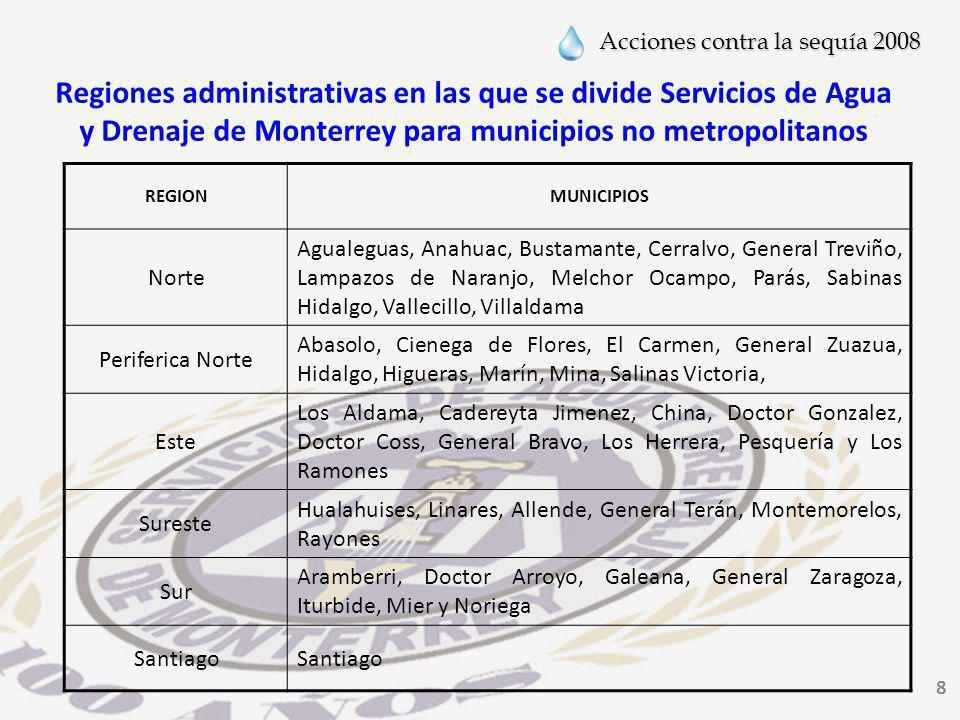 Regiones administrativas en las que se divide Servicios de Agua y Drenaje de Monterrey para municipios no metropolitanos