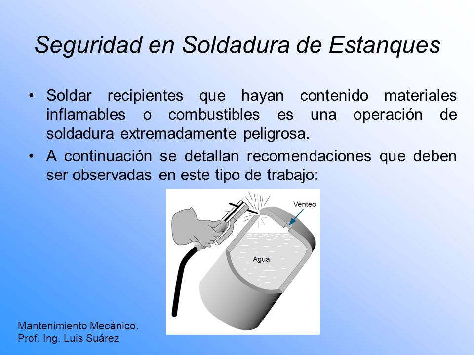 Seguridad en Soldadura de Estanques